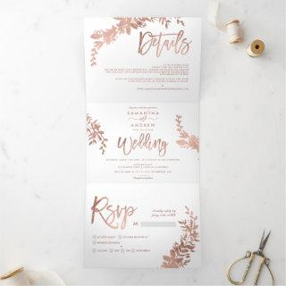 Rose gold Floral white elegant script wedding Tri-Fold Invitation