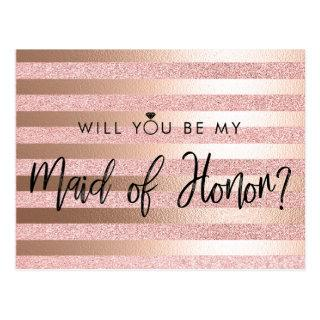 Rose Gold Foil And Glitter Maid of Honor Proposal Postcard