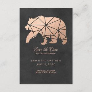Rose Gold Foil Geo Bear Wedding Save the Date