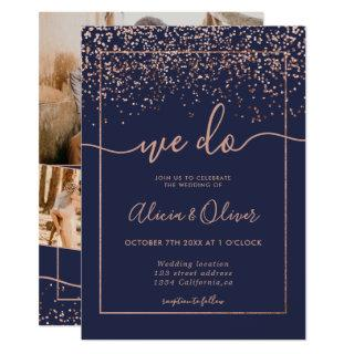 Rose gold foil navy blue photo initials wedding Invitations