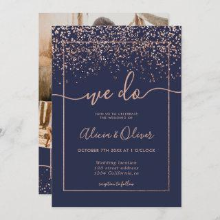 Rose gold foil navy blue photo initials wedding invitation