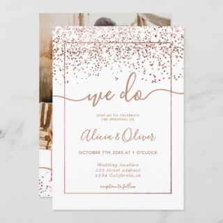 Rose gold foil white photo initials wedding invitation