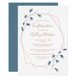 Rose gold frame watercolor chic blue confirmation invitation