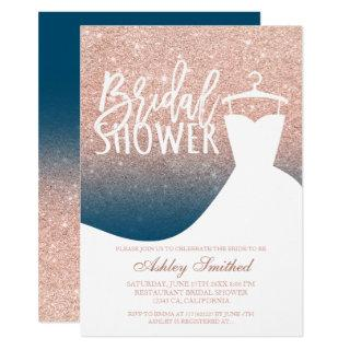 Rose gold glitter blue chic dress Bridal shower Invitation