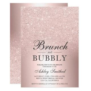Rose gold glitter brunch bubbly bridal shower Invitations