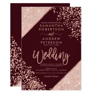 Rose gold glitter confetti chic burgundy wedding invitation