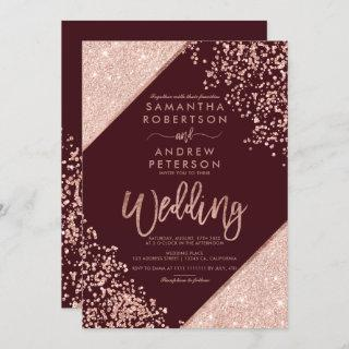 Rose gold glitter confetti chic burgundy wedding Invitations