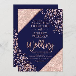 Rose gold glitter confetti chic navy blue wedding Invitations