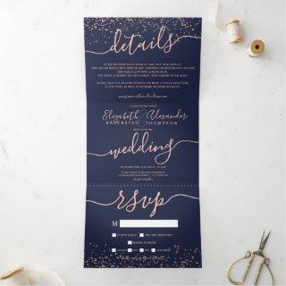 Rose gold glitter confetti navy blue chic wedding Tri-Fold Invitations