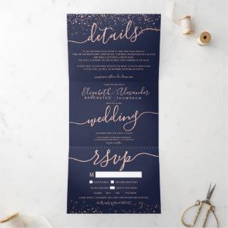 Rose gold glitter confetti navy blue seats wedding Tri-Fold Invitations