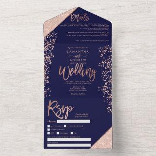 Rose gold glitter confetti navy chic wedding all in one