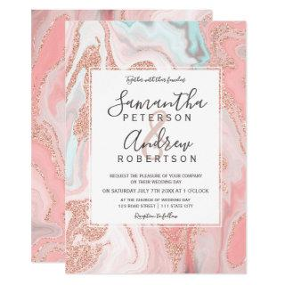 Rose gold glitter coral pink marble modern wedding invitation