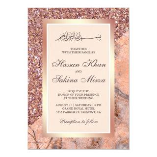 Rose Gold Glitter Coral Pink Marble Muslim Wedding Invitation