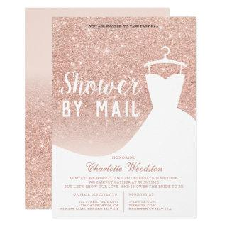 Rose gold glitter dress Bridal shower by mail Invitations