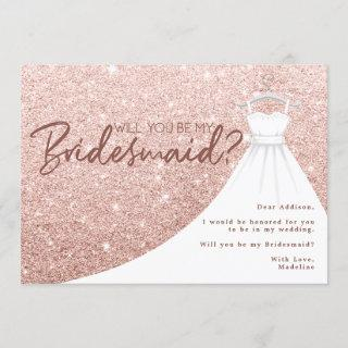 Rose Gold Glitter Dress Will You Be My Bridesmaid
