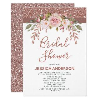 Rose Gold Glitter Floral Bridal Shower Invitation