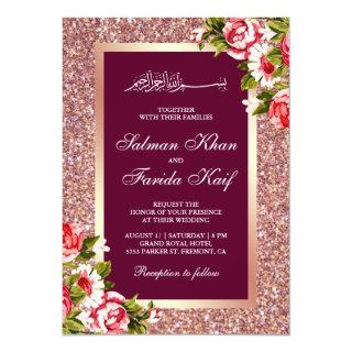 Rose Gold Glitter Floral Islamic Muslim Wedding Invitations