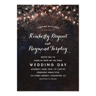 Rose Gold Glitter Lights | Rustic Country Wedding Invitation