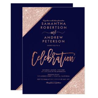 Rose gold glitter navy blue celebration wedding Invitations