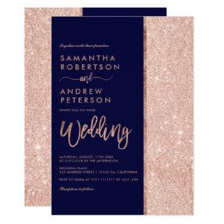 Rose gold glitter navy blue color block wedding Invitations