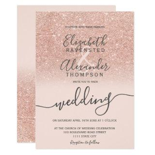 Rose gold glitter ombre blush script chic wedding Invitations
