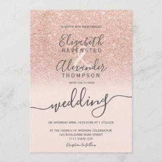 Rose gold glitter ombre blush script chic wedding invitation