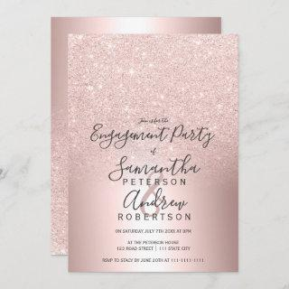 Rose gold glitter ombre metallic foil engagement Invitations