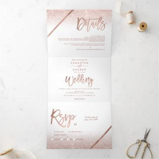 Rose gold glitter ombre typography white wedding Tri-Fold