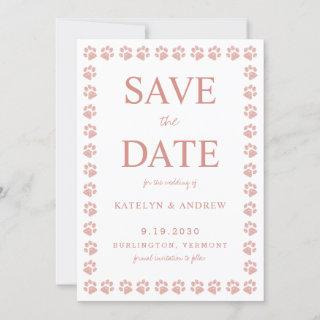 Rose Gold Glitter Paw Print Wedding Save The Date Invitations