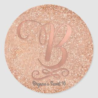 Rose Gold Glitter Personalized Initial Letter B Classic Round Sticker