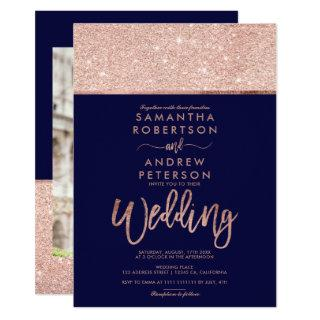 Rose gold glitter photo navy blue wedding invitation
