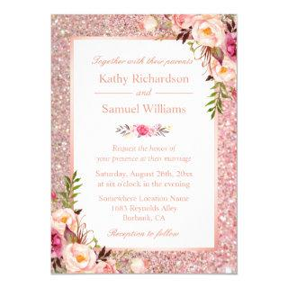 Rose Gold Glitter Pink Floral Wedding Invitations