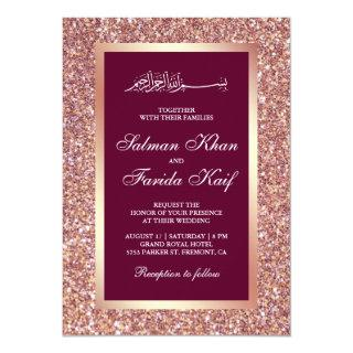 Rose Gold Glitter Pink Islamic Muslim Wedding Invitations