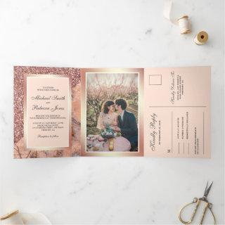 Rose Gold Glitter Pink Marble All in One Wedding Tri-Fold Invitations