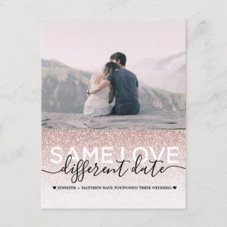 Rose Gold Glitter Same Love Different Date Wedding Announcement Postcard