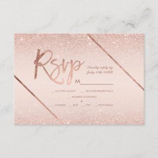 Rose gold glitter script blush pink rsvp wedding