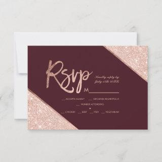 Rose gold glitter script burgundy rsvp wedding