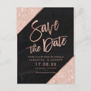 Rose gold glitter script chalkboard save the date announcement postcard