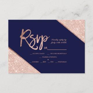Rose gold glitter script navy blue rsvp wedding 2