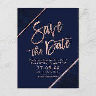 Rose gold glitter script navy blue save the date 2 announcement postcard