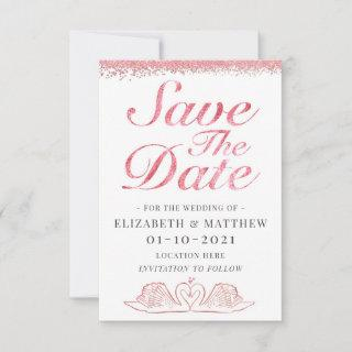 Rose Gold Glitter Themed Wedding Save The Date