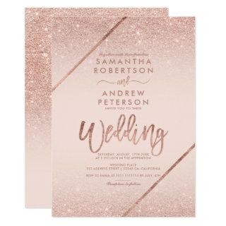 Rose gold glitter typography blush pink wedding Invitations