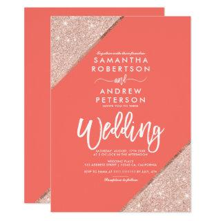 Rose gold glitter typography coral wedding Invitations