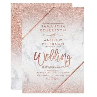 Rose gold glitter typography marble wedding Invitations