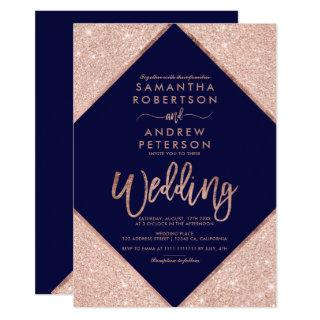 Rose gold glitter typography navy blue wedding 2 invitation