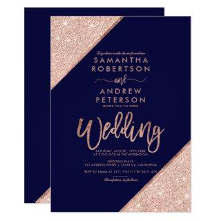 Rose gold glitter typography navy blue wedding Invitations