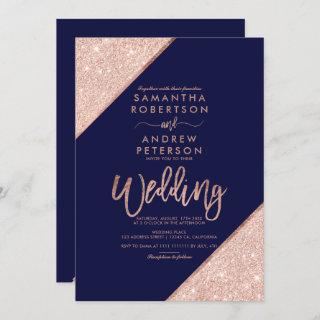 Rose gold glitter typography navy blue wedding invitation
