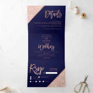 Rose gold glitter typography navy blue wedding Tri-Fold Invitations