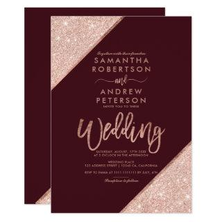Rose gold glitter typography red burgundy wedding Invitations