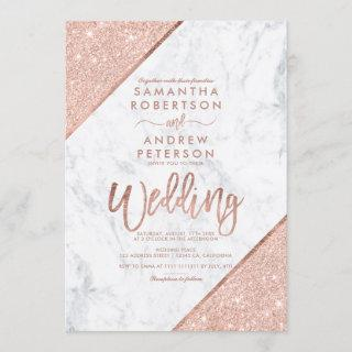 Rose gold glitter typography white marble  wedding Invitations